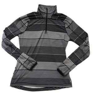 Lands' End Athletic Top Stripe Zip Front Small